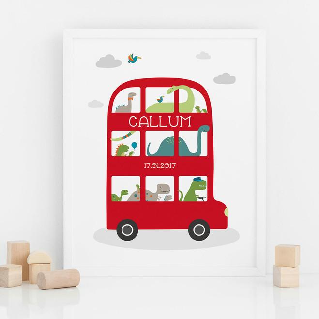 Dinosaur Bus Personalised Print by Wink Design