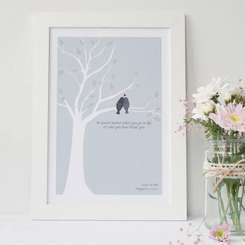 Love Birds Print - Pale Blue