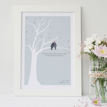 Love Birds Print - Pale Blue