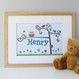 Personalised Baby Name Tree Print - Blue - Oak Framed