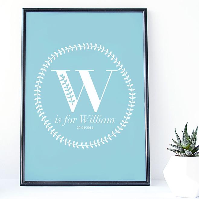 Monogram blue initial birth print by Wink Design