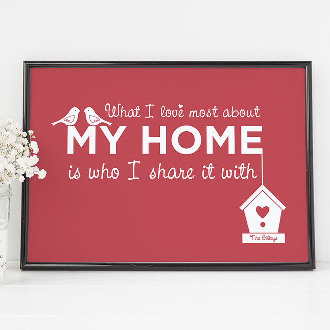 'What I Love Most About My Home' Personalised Print - Cranberry