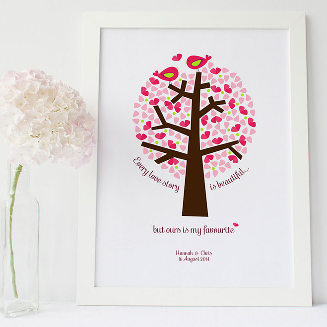 Personalised 'Our Love Story' print - pink