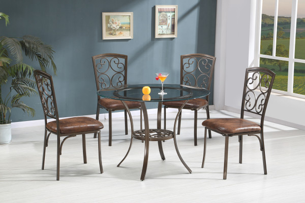 """45"""" Round glass top dining table and 4 chairs"""