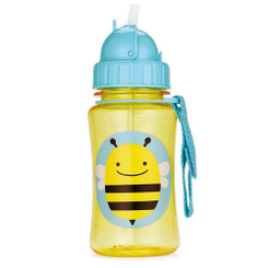 Skiphop Zoo Straw Flip Bottle - Bee  12 oz