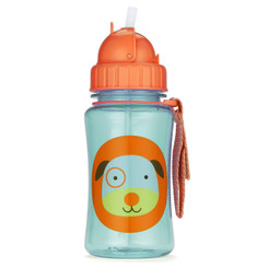 Skiphop Zoo Straw Flip Bottle - Dog 12 oz