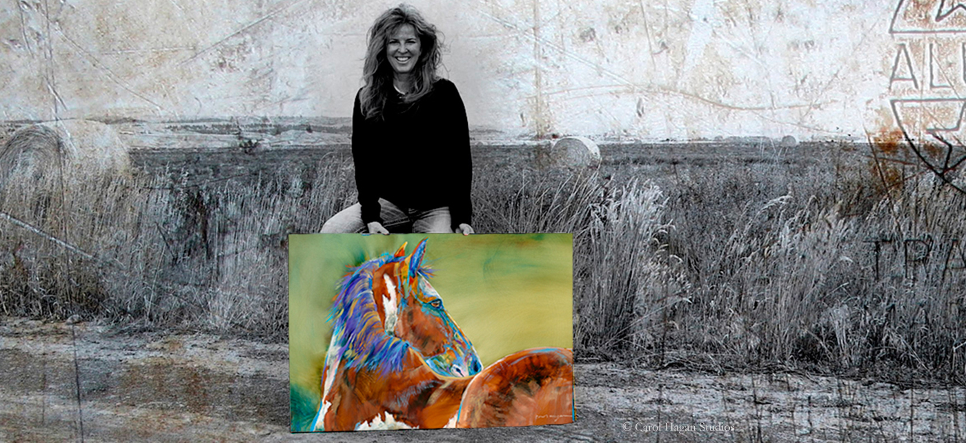 Montana artist, Carol Hagan holds a photo of a painting of a green horse