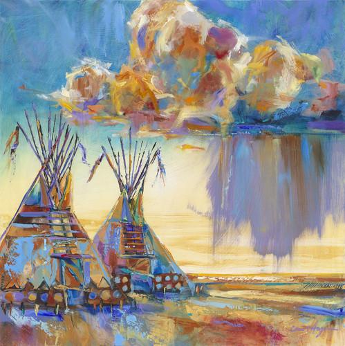 Great Spirit Brings The Rain tipis painting