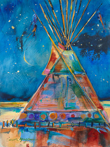Night Shadows tipi painting