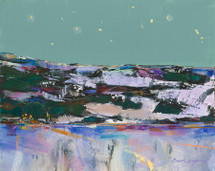 Farm Lights Near Fishtail, Christmas Eve painting