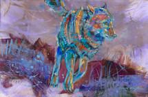 Rainy Night Run wolf painting