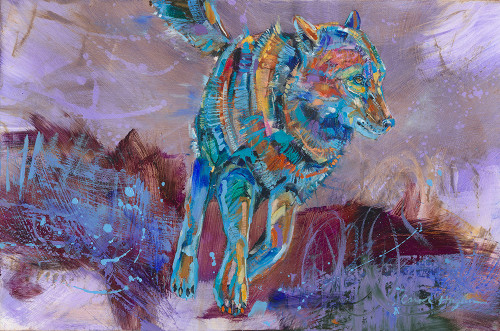 Rainy Night Run wolf painting