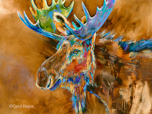 Chocolate Moose print on metal by Carol Hagan.