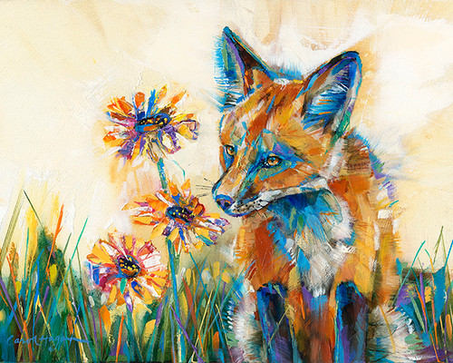 """Daisy Sniffer"" print on metal by Carol Hagan."