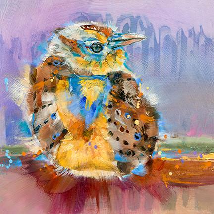 """Baby Meadowlark"" print on metal by Carol Hagan."