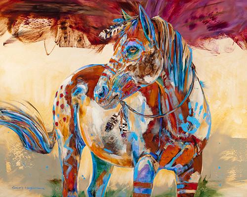 """""""Blue Feather"""" print on metal by Carol Hagan."""