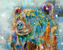 """Bear Breath and Snowflakes"" print on metal by Carol Hagan"