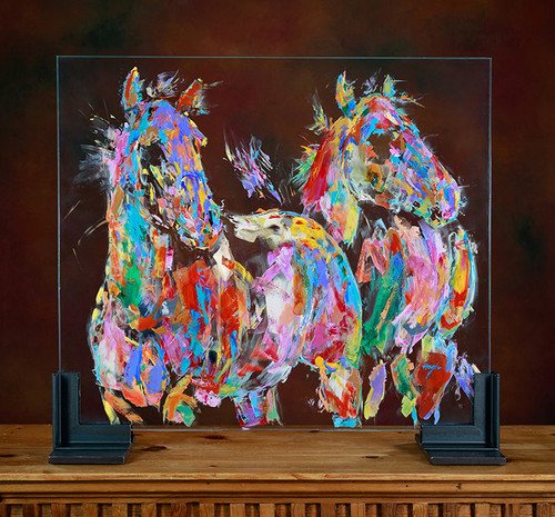 The Pink Bellied Mares oil on glass