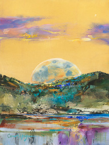 Montana Moon Rising - Metal Print by Montana Artist Carol Hagan