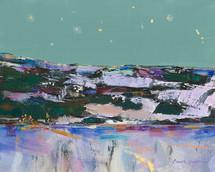 Christmas Eve Farmlights Near Fishtail - Limited Edition Print by Montana Artist Carol Hagan