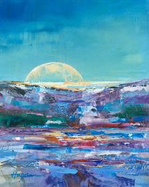 """Moonrise Over Montana"" original oil painting"