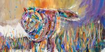 Summer Grasses Wolf - Metal Print - Carol Hagan