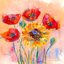 Sunflower Poppies Metal Print - Carol Hagan