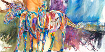 Pink-Bellied Mares original oil painting-Horses