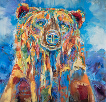 Blue Grizzly Daydreams - Metal Print by Carol Hagan