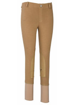 TuffRider Children's Starter LowRise Pull-On Knee Patch Breeches - Sand