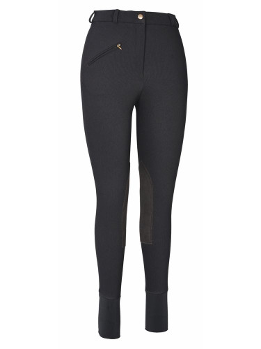 TuffRider Ladies Ribb Knee Patch Breeches - Black