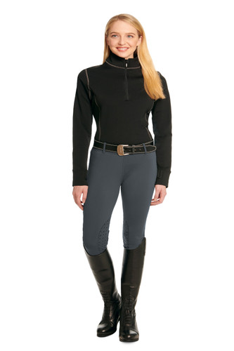 Ovation Ladies Equinox 3-Season Knee Patch Pull On Breech - Steel Grey