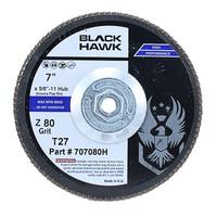"""7"""" x 5/8-11"""" Hub Black Hawk Zirconia Flap Disc T27"""