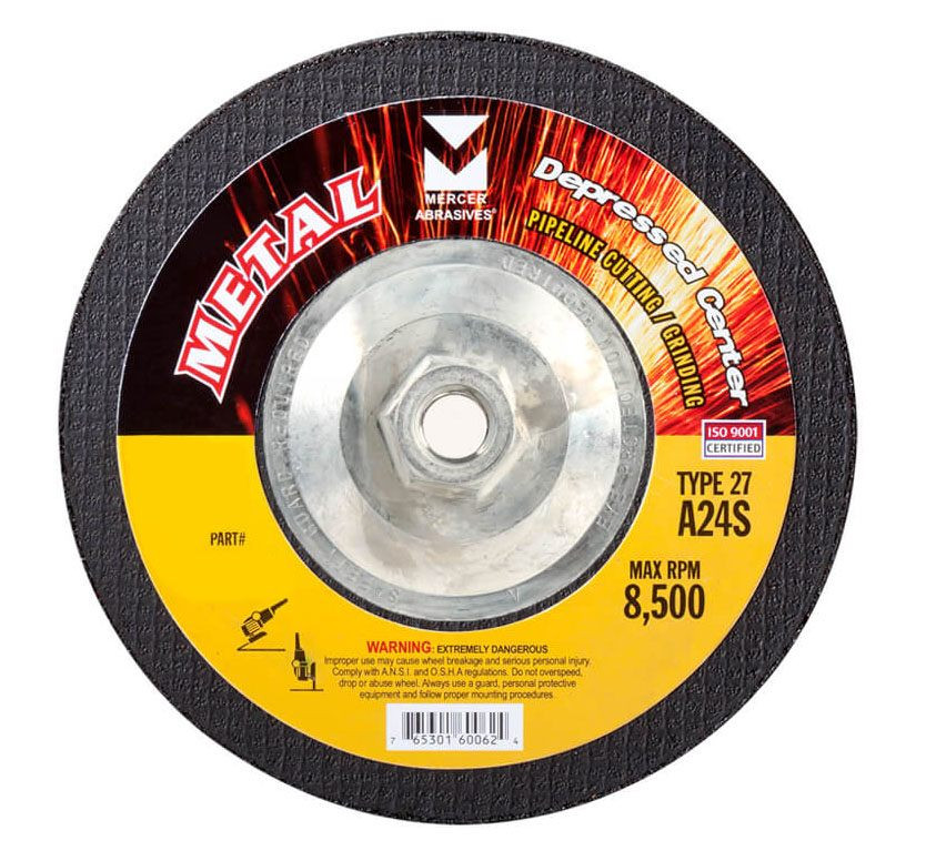 "Mercer 9"" x 1/8"" x 5/8""-11 Hubbed Cutting and Light Grinding Wheel"