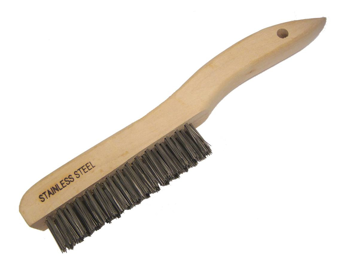 10 14 Wire Scratch Brush With Wood Handle Stainless Steel