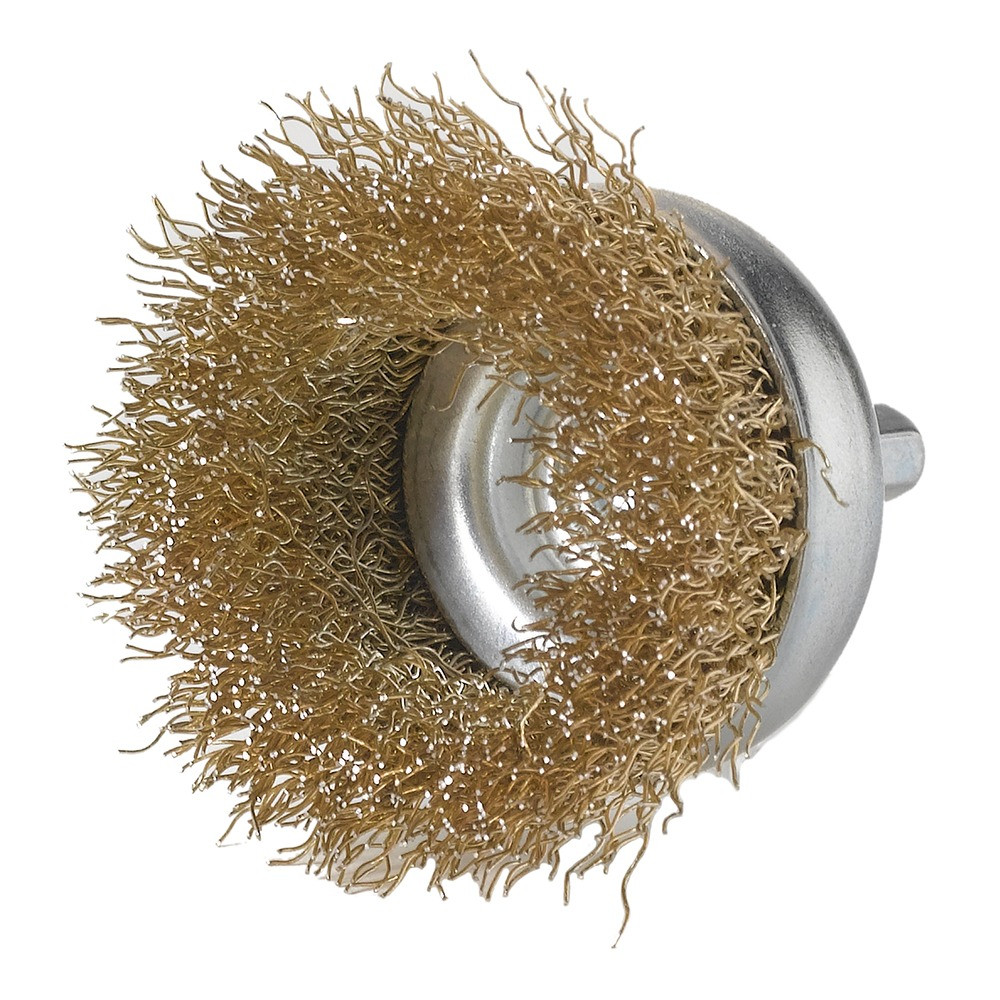 "2"" x 1/4"" crimped wire brush cup wheel with brass bristles"