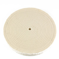 "10"" x 1/2"" Arbor - 60 Ply Spiral Sewn Muslin Buffing Wheel"