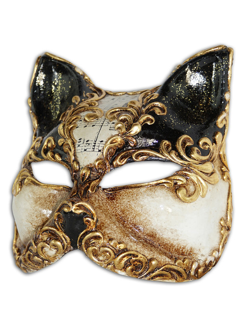 Authentic Venetian Mask Gatto Arabesque
