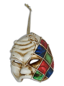 Venetian Mini Commedia Dell'Arte Mask Ornament Arlecchino