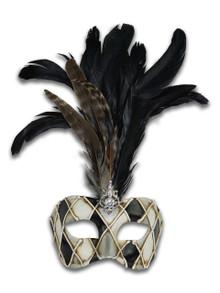 Venetian mask Colombina Rombi Piume