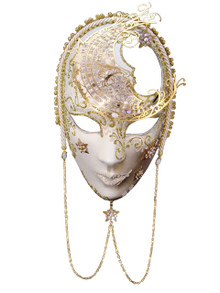 Authentic Venetian mask Volto Luna Metallo