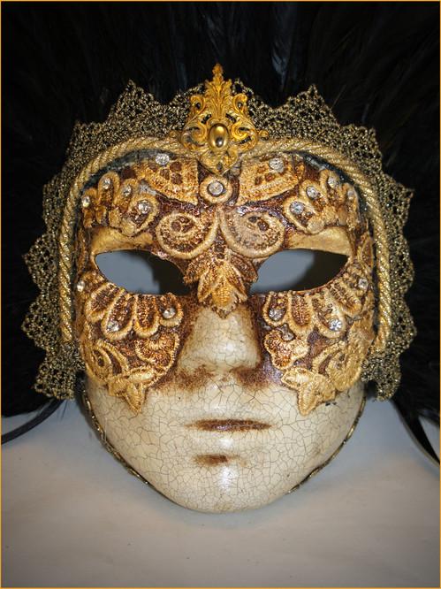 Authentic Venetian mask Volto Piume Mac Craquele