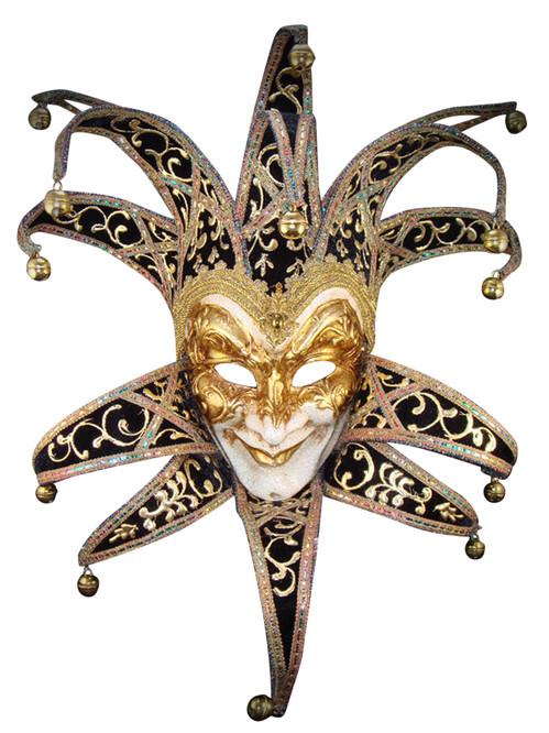 Venetian paper mache  mask Jester Velutto Lux