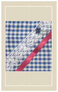 Blue silk gingham with red and white trimmings doll sized sewing kit