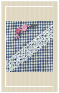 Navy gingham with lace trimmings doll sized sewing kit