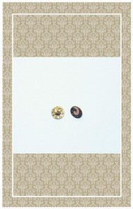 Antique doll scaled brass enameled buttons