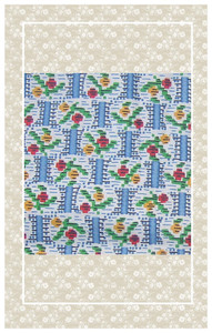 Doll scaled summery vintage floral cotton