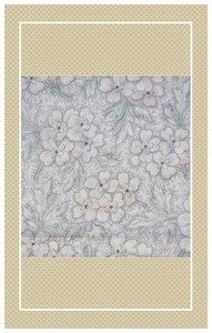 White with peach and green antique doll scaled cotton