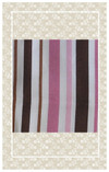 Pink and brown striped doll scale cotton