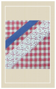 Red and white gingham with blue trimmings doll sized sewing kit